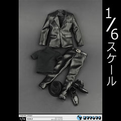 【ZYTOYS】ZY5007 Men's black leather clothing suit 1/6スケール 男性スーツ&帽子&シューズ