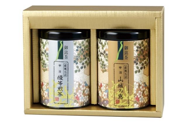 N-25 山城の露(玉露) 80g缶入り/優等煎茶(煎茶) 80g缶入り