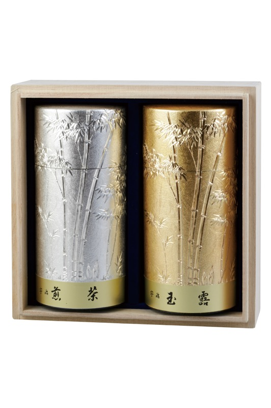 極上優等玉露(玉露) 160g缶入り/極上煎茶(煎茶) 160g缶入り 彫刻缶/桐箱入り