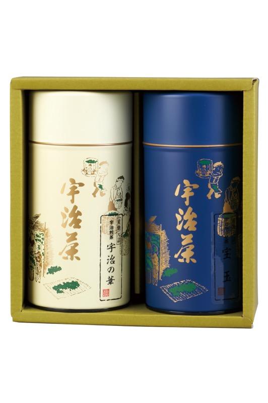 宝玉(かぶせ茶) 180g缶入り/宇治の華(煎茶) 180g缶入り