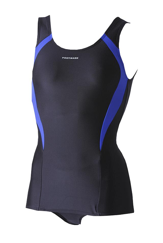 ≪20%OFF≫前面スカート付きスクール水着 ラインワンピース 大きいサイズ 1210022