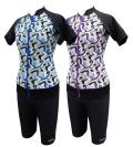 【大きいサイズ】 アクアマンマ・袖付きセパレーツ ジオメトリック 4L・5L 乳がんを経験された方向けの水着
