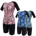 【ゆったりM-3L】女性用水着袖付きセパレーツ デニムローズ 1210036 ゆったりM・L・LL・3L