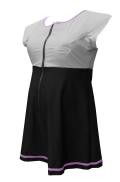 大きいサイズ女性用水着(ワンピースタイプ) フレンチアクアスーツ・ライン(スカート付き) グレー 市販6L相当-8L相当