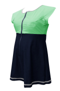 大きいサイズ女性用水着(ワンピースタイプ) フレンチアクアスーツ・ライン(スカート付き) ミント 市販6L相当-8L相当