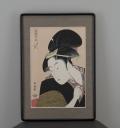 木版画 喜多川歌麿「歌撰戀之部「深く忍恋」」 大額入りマット付