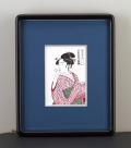 木版画 喜多川歌麿「ポッピンを吹く女」」 小額入りマット付