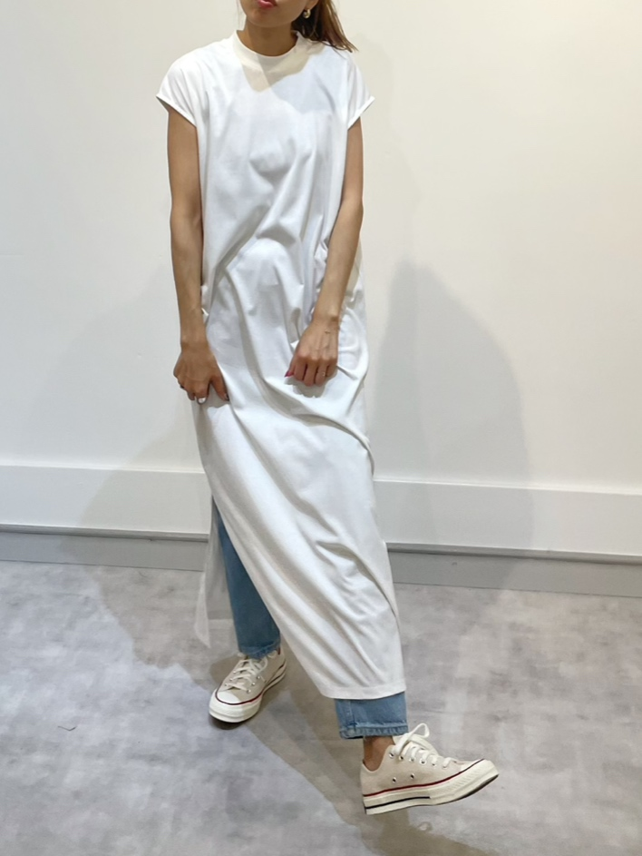 21S/S French sleeve slitdesign cotton long dress (2color)