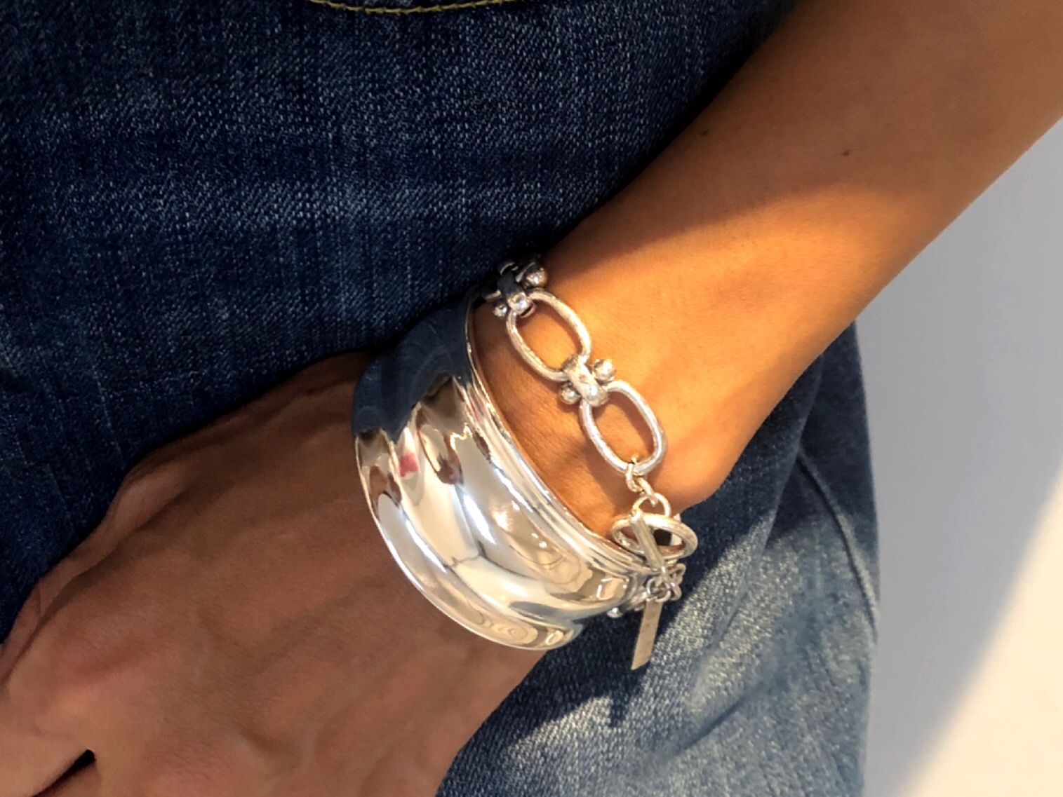 Accessory/dunbel chain silver blaceret(Nothing And Others)