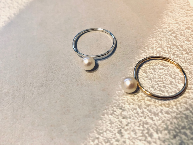 Accessory/1粒baby pearl ring 【silver925/14kgf】
