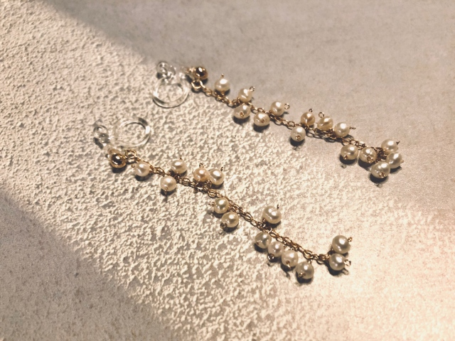 baby pearl gather earring【14kgf】