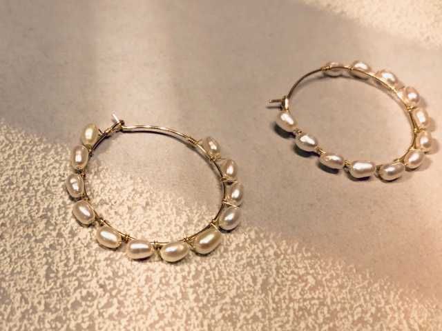rice pearl hoop pierce【14kgf】