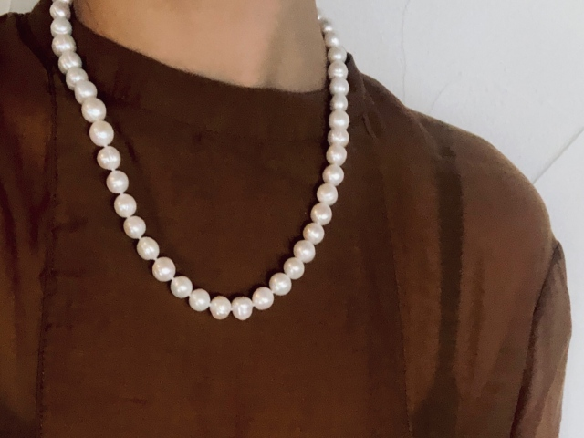Accessory大粒淡水pearl necklace short