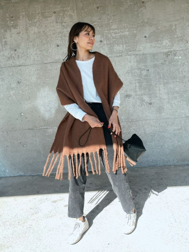A/W  Fringe long scarf/stall (3color)