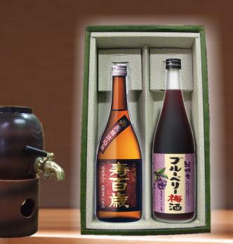 【限定】おじいちゃんには芋焼酎寿百歳・おばあちゃんには目の健康に良いブリベリー梅酒720ml×2本