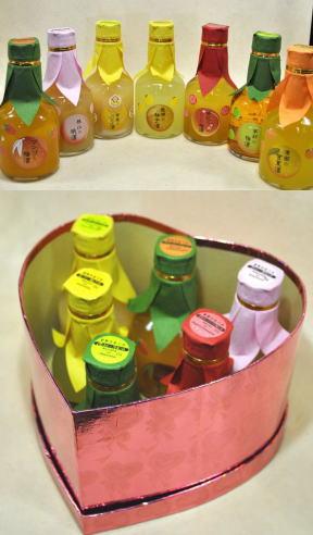 フルーツ王国和歌山を一度に味わっちゃおう! 和歌のめぐみ180ml×3本ハートボックス入り