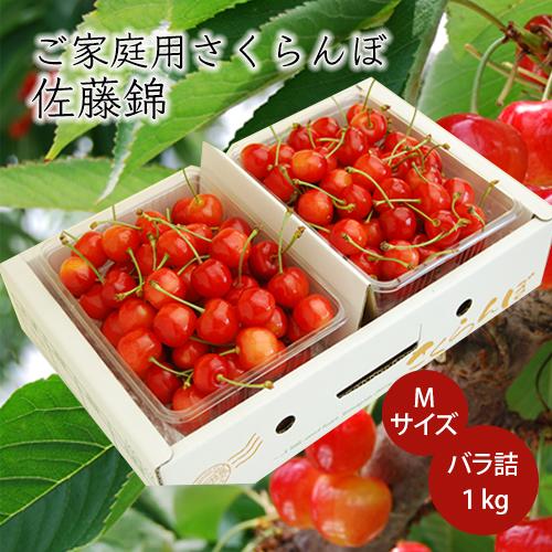 《ご家庭用》[送料無料]さくらんぼ佐藤錦1kgバラ詰Mサイズ(500g×2)