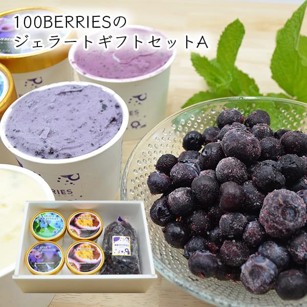 100BERRIESのジェラートギフトセットA(ジェラート4個・ 冷凍ブルーベリー200g)[箱入]
