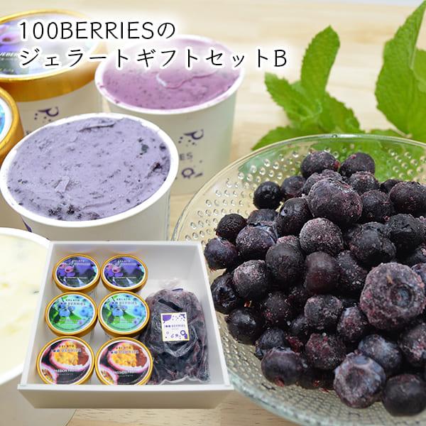 100BERRIESのジェラートギフトセットB(ジェラート6個・ 冷凍ブルーベリー300g)[箱入]