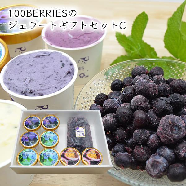 100BERRIESのジェラートギフトセットC(ジェラート8個・ 冷凍ブルーベリー400g)[箱入]