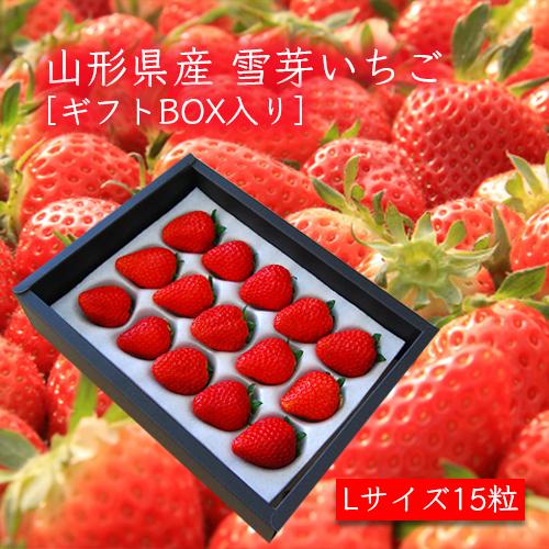 山形県産いちご[雪芽いちご]Lサイズ×15粒 ギフトBOX入