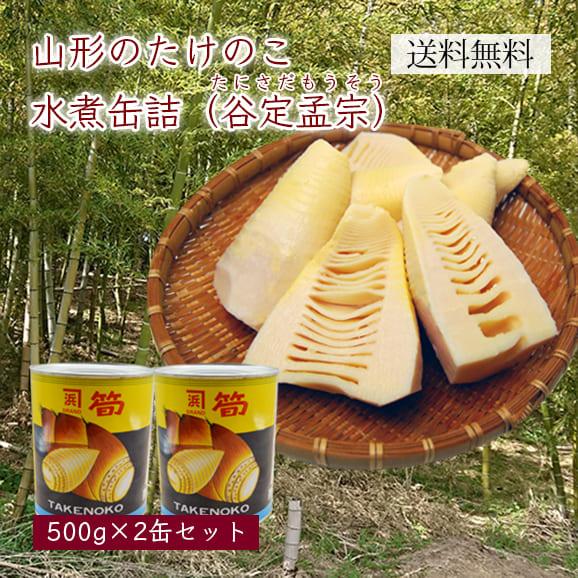 山形のたけのこ水煮缶詰(谷定孟宗)大2缶セット (500g×2)[箱入]