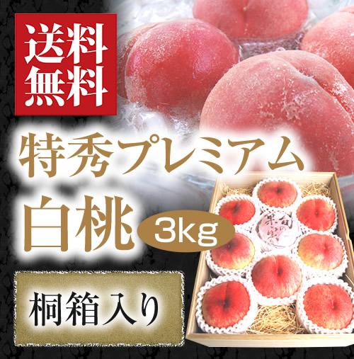 【旬果】特秀プレミアム白桃3kg[桐箱入り]