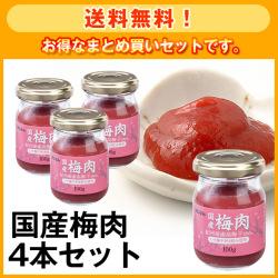 【送料無料!】国産梅肉4本セット