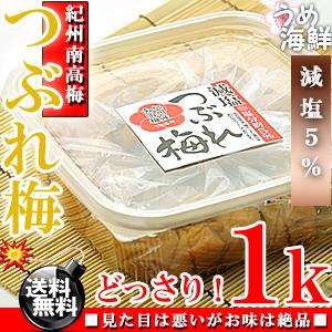 減塩 梅干し つぶれ梅 1kg(500g×2個) はちみつ漬け ( 塩分約5% ) [ 訳あり]【送料無料】