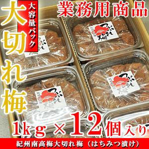 紀州南高梅 訳あり 大切れ梅 12kg(1kg×12個入り) はちみつ漬け(つぶれ梅 業務用セット) 送料無料※北海道、沖縄、離島は1,000円
