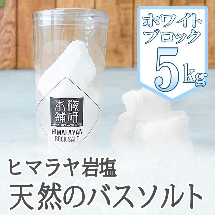【バスソルト】ヒマラヤ岩塩ホワイトブロック 5kg【ホワイトソルト】