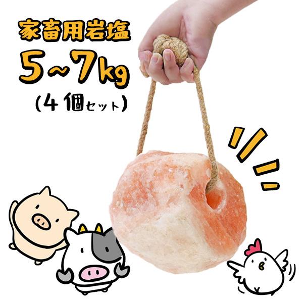 【動物】家畜用ヒマラヤ岩塩 5~7kg 4個セット【牛・馬・羊】