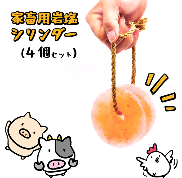 【動物】家畜用ヒマラヤ岩塩 シリンダー 4個セット【牛・馬・羊】