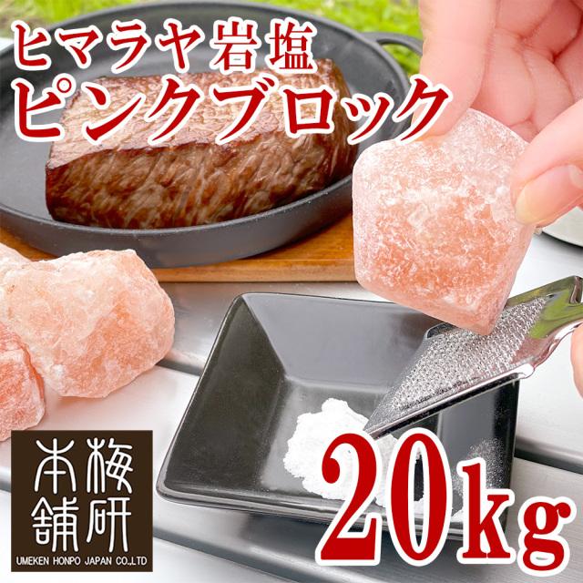 【食用】 ヒマラヤ岩塩 ピンク ブロック 20kg【1~10センチ前後】