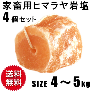 【動物】家畜用ヒマラヤ岩塩4~5kg 4個セット【牛・馬・羊】