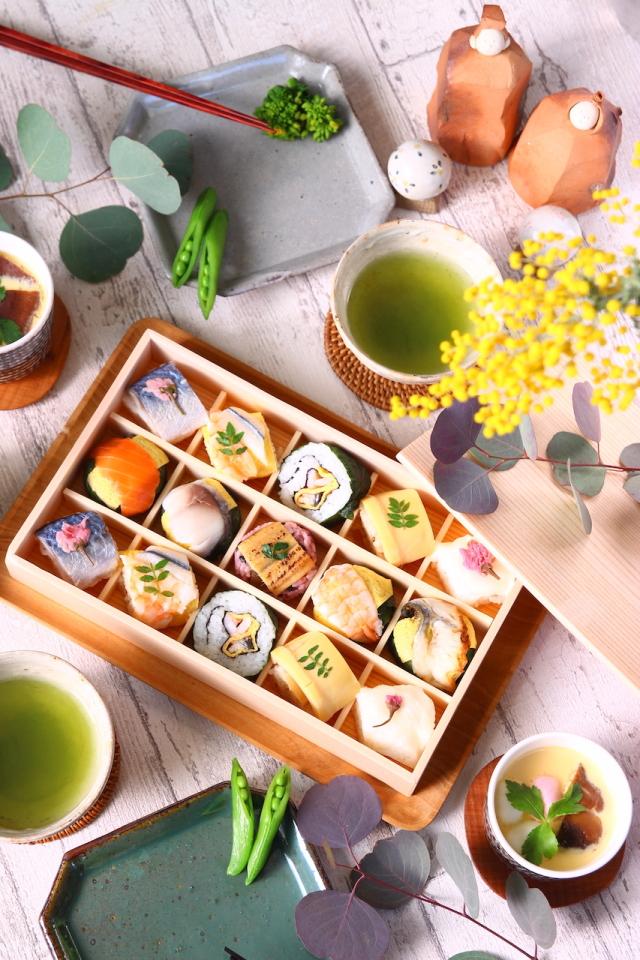 ◆冷凍◆季節の手鞠わさび葉寿し春15個★5月31日まで期間限定発売★桜のアクセントが春を感じる手鞠寿しセット