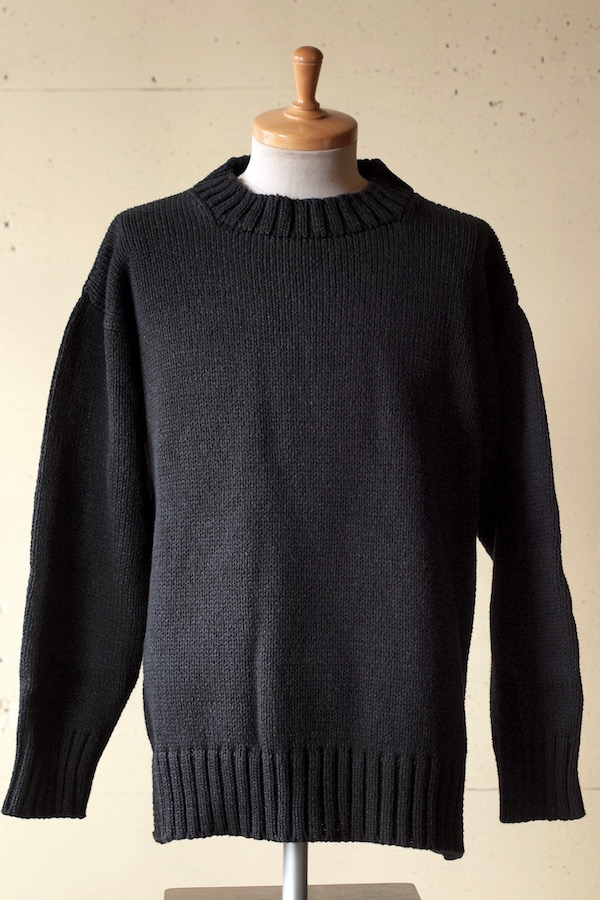 Deck Hand Indigo Cotton Crew Neck Sweater Black Indigo-1