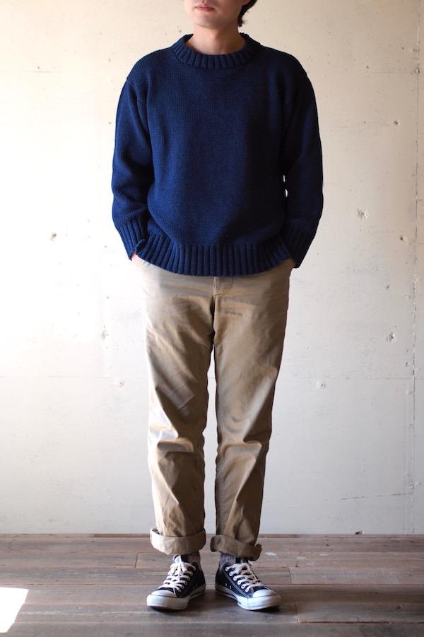 Deck Hand Indigo Cotton Crew Neck Sweater Dark Indigo-1