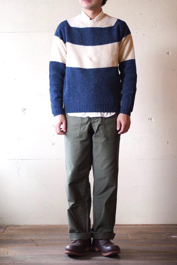 Harley of Scotland Shetland Sweater Big Border Denim×Cream-1