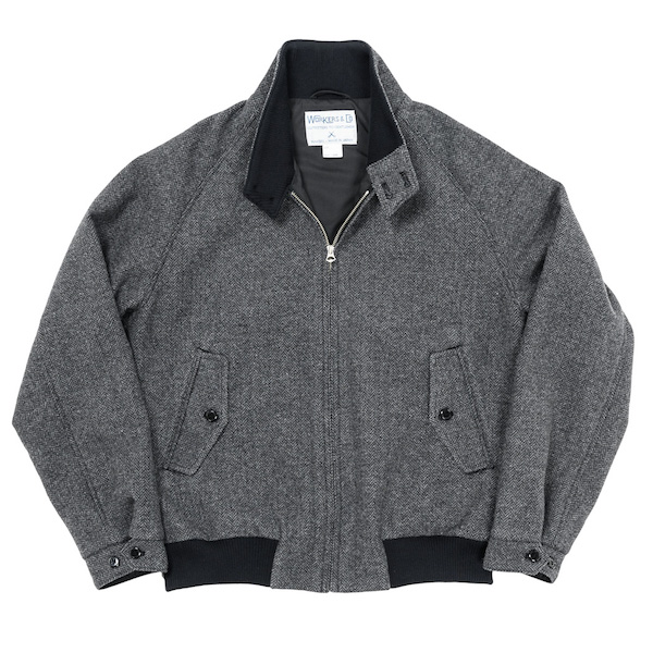 Harrington JKT Grey Herringbone Tweed