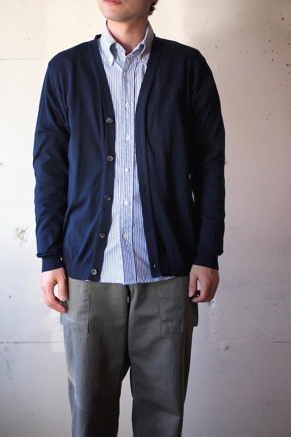 Island Knit Works-Cotton Knit Cardigan, Navy-1