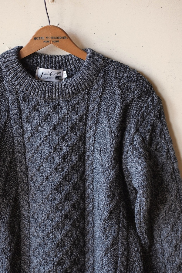 John Cooper Knitwear, Donnelly Aran Cable, Crew Neck, Grey Tweed-1