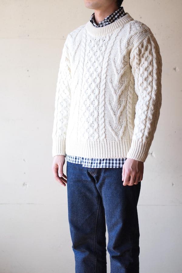 John Cooper Knitwear, Donnelly Aran Cable, Crew Neck, Pure Aran-1