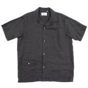 Open Collar Shirt Black Linen