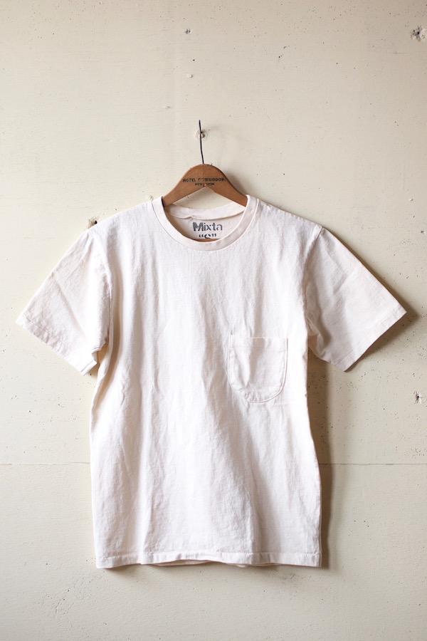 Mixta (ミクスタ) Crew Neck Pocket T-Shirt, Natural-1