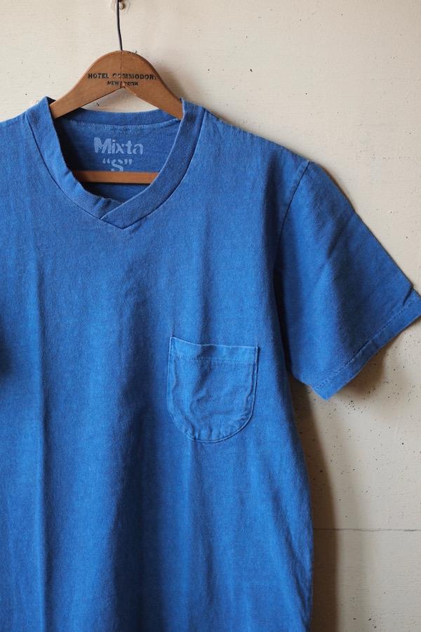 Mixta V-Neck Pocket Tee Denim Blue-1