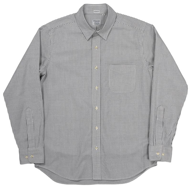 Modified Regular Collar Shirt Black Stripe OX