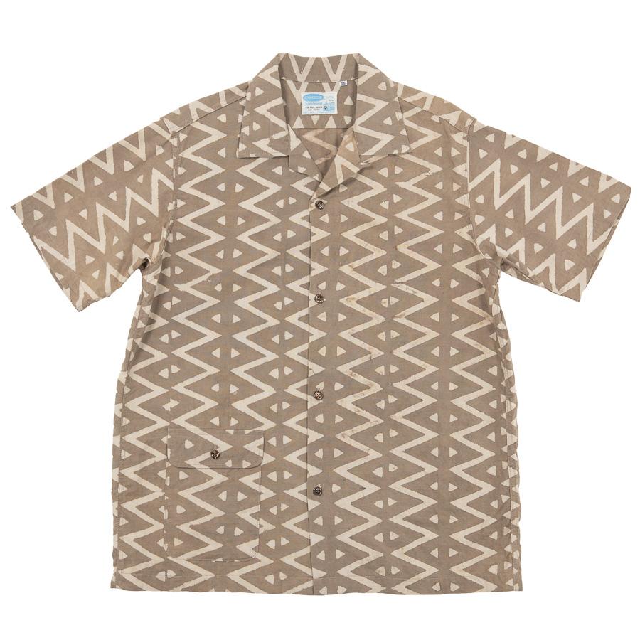 Open Collar Shirt Block Print Beige