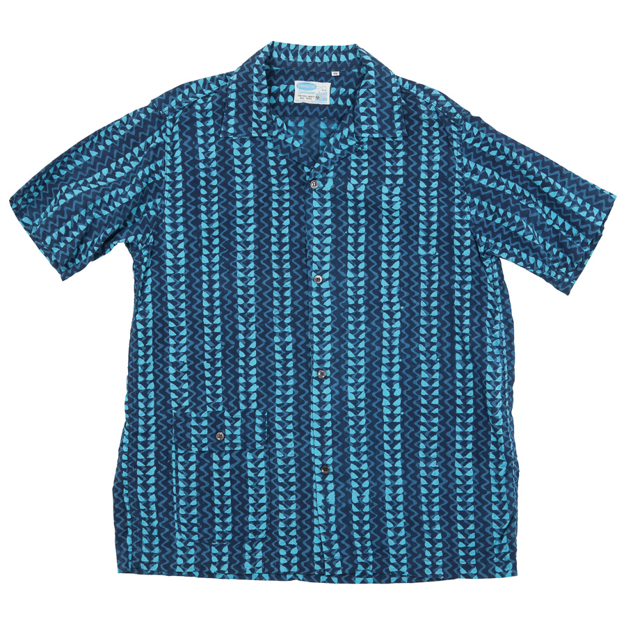 Open Collar Shirt Block Print Blue