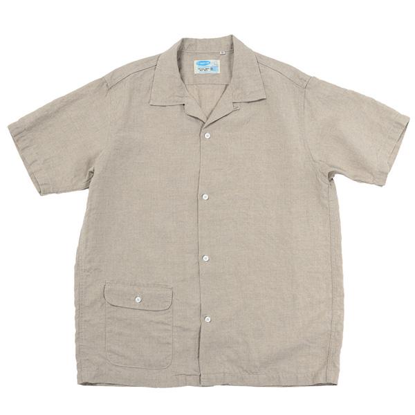 Open Collar Shirt Ecru Linen
